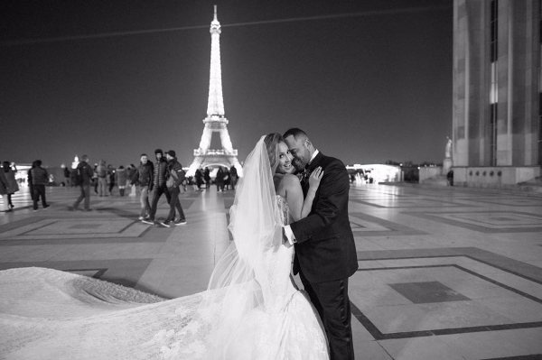 Adrienne bailon and israel houghton paris wedding for Ryan and walter wedding dress prices