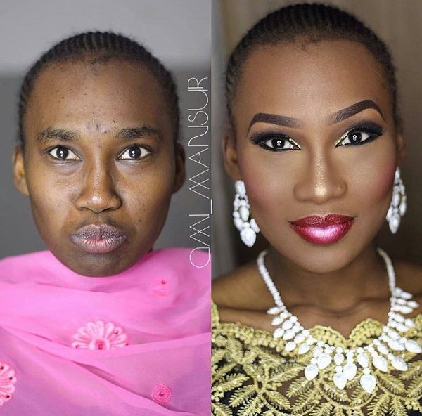 Nigerian Bridal Makeup Before and After Ami Mansur LoveweddingsNG