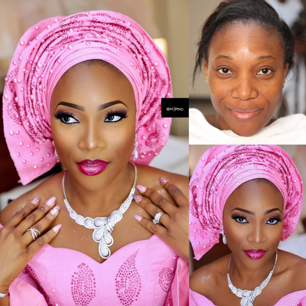 Nigerian Bridal Makeup Before and After Banke Meshida Lawal BMPRO LoveweddingsNG