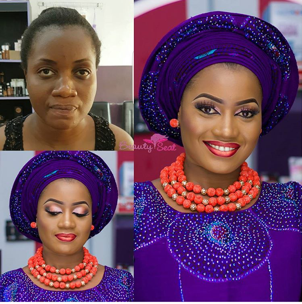 Nigerian Bridal Makeup Before and After Beauty Seat LoveweddingsNG
