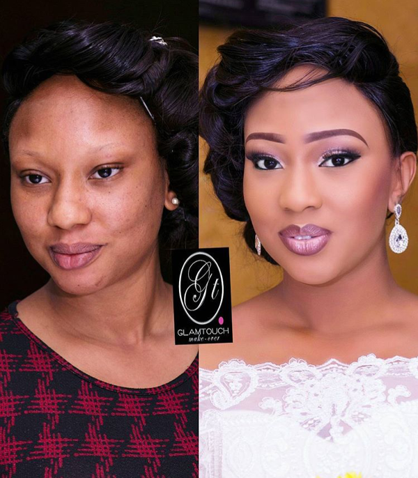 Nigerian Bridal Makeup Before and After GlamTouch Makeover LoveweddingsNG