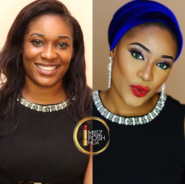 Nigerian Bridal Makeup Before and After Misz Posh MUA LoveweddingsNG