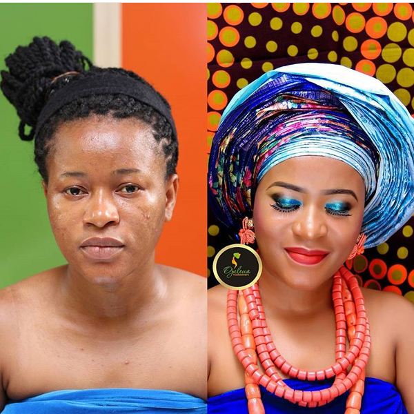 Nigerian Bridal Makeup Before and After Ojulewa Stuido LoveweddingsNG