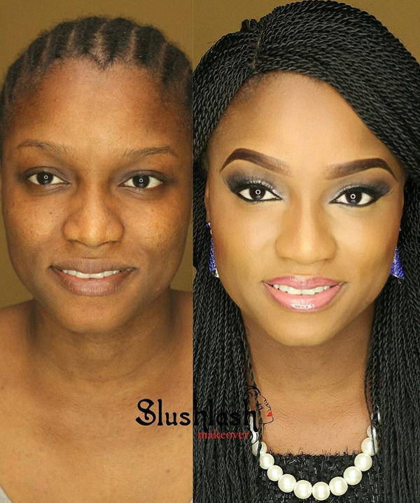 Nigerian Bridal Makeup Before and After Slushlash Makeovers LoveweddingsNG