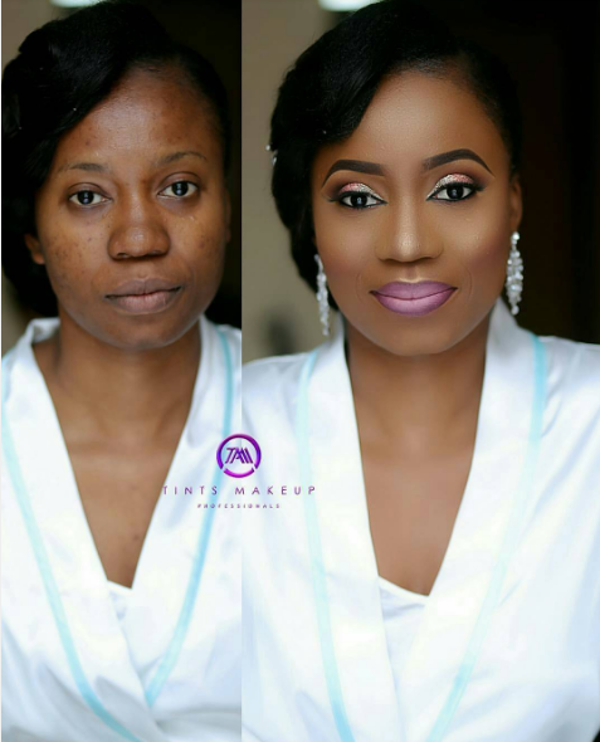 Nigerian Bridal Makeup Before and After Tints Makeup LoveweddingsNG