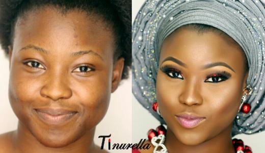 Nigerian Bridal Makeup Before and After Tinurella LoveweddingsNG