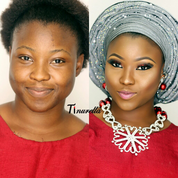 Nigerian Bridal Makeup Before and After Tinurella LoveweddingsNG