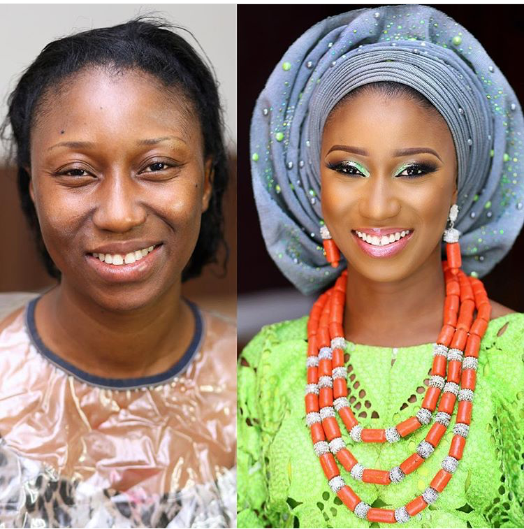 Nigerian Bridal Makeup Before and After Zainab Azeez Makeovers LoveweddingsNG