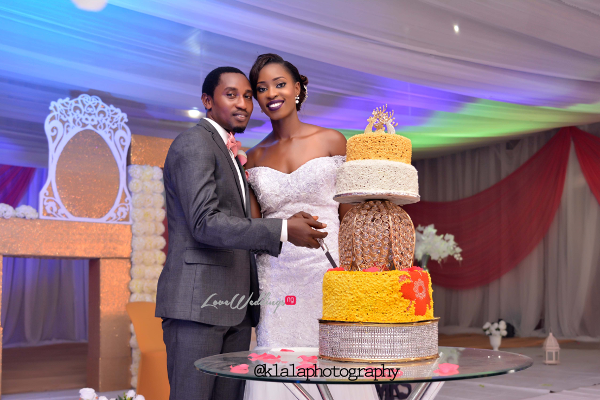 Nigerian Bride and Groom Cutting Cake Dami and Bayo Klala Photography LoveweddingsNG