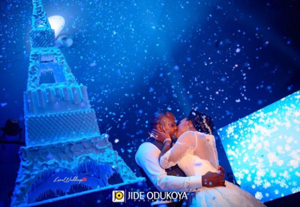 Nigerian Couple Kiss Eiffel Tower Wedding Cake Toyosi and Wole WED Dream Wedding From Paris With Love 17 LoveWeddingsNG