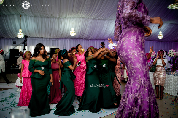 Nigerian bride bouquet toss Tosin and Hassan Herald Studeos LoveWeddingsNG