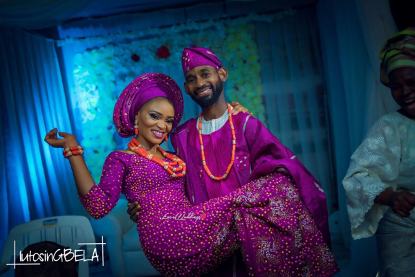 Nigerian Traditional Wedding Igbeyawo Bride and Groom Adetola Adeleke and Olapemi Awolola LoveWeddingsNG