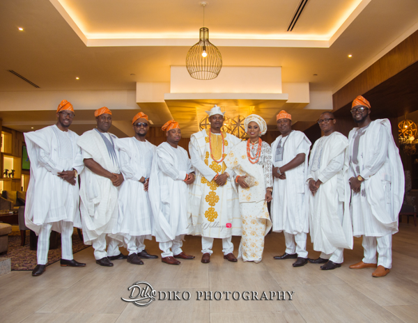 Nigerian Tradtional Couple and Groomsmen Omolade and Adekunle Diko Photography LoveWeddingsNG 1