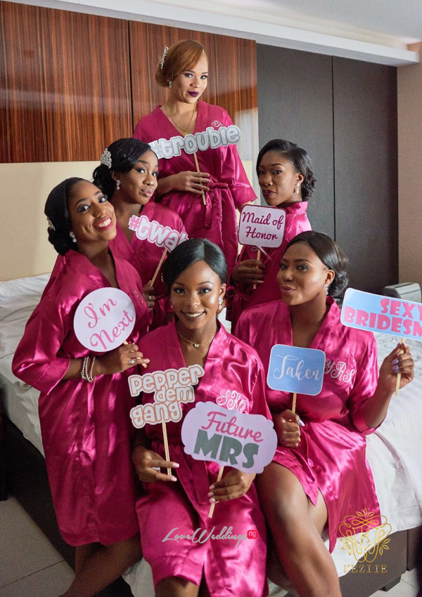 Bride and Bridesmaids in Robes Wanni Fuga and Sam Wabara LoveWeddingsNG 1