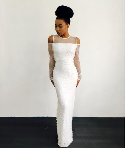 Mo Cheddah in White Stunner Mo Cheddah.co Nigerian Wedding Guest Inspiration LoveWeddingsNG