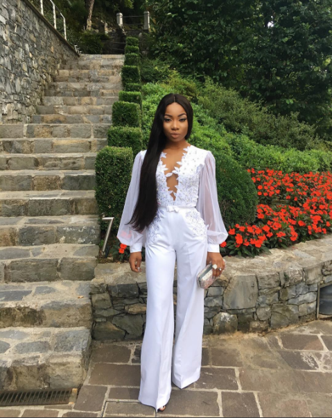 Mo Cheddah white jumpsuit for LaySey Nigerian Wedding Guest Inspiration LoveWeddingsNG