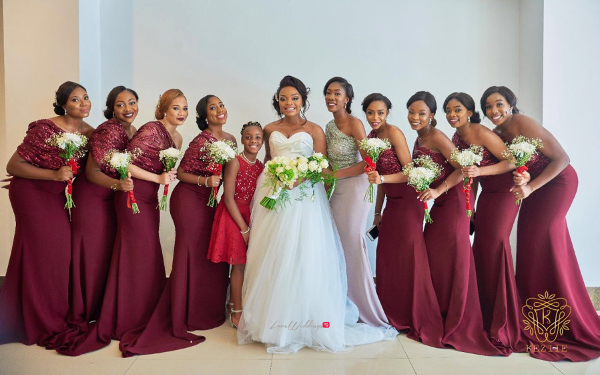 Nigerian Bride and Bridesmaids Wanni Fuga and Sam Wabara LoveWeddingsNG
