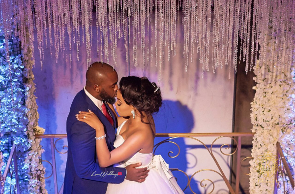 Nigerian Bride and Groom Forehead Kiss Wanni Fuga and Sam Wabara LoveWeddingsNG