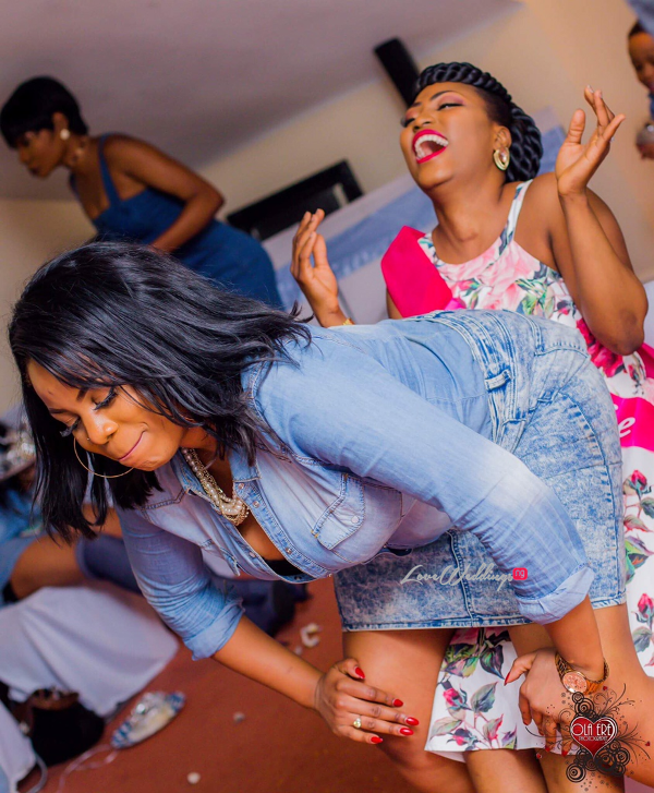 Nigerian Denim Themed Bridal Shower Adiat Bride to be and Friend LoveWeddingsNG