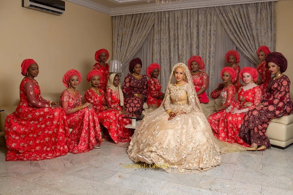 Nigerian Northern Traditional Bride and Aso Ebi Ladies George Okoro LoveWeddingsNG