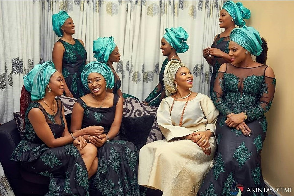 Nigerian Traditional Bride and Aso Ebi Ladies Akintayotimi LoveWeddingsNG