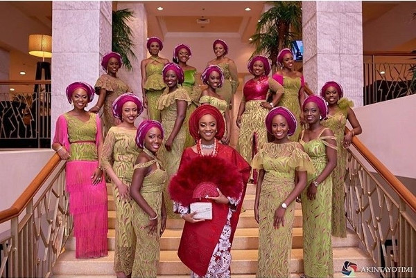 Nigerian Traditional Bride and Aso Ebi Ladies - #DoubleO17 Akintayotimi LoveWeddingsNG
