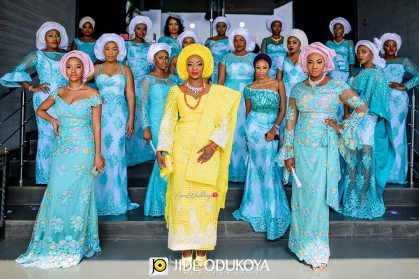 Nigerian Traditional Bride and Aso Ebi Ladies Kunbi-Oyelese-Lanre-Tomori-Traditional-Wedding-LoveweddingsNG