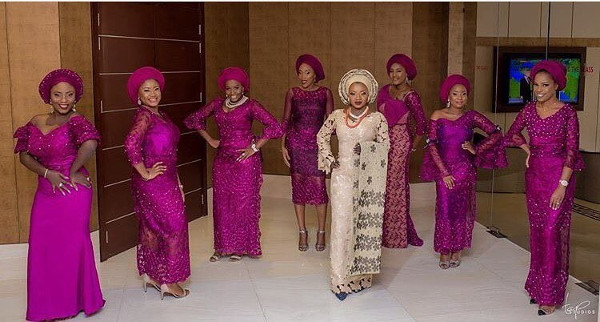 Nigerian Traditional Bride and Aso Ebi Ladies - #Tiad2017 Tap Studios LoveWeddingsNG