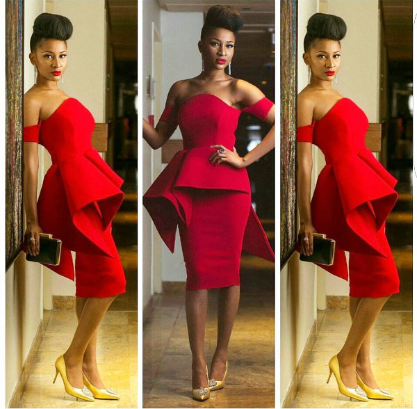 Adesua Etomi Red Nigerian Wedding Guest Style Inspiration LoveWeddingsNG