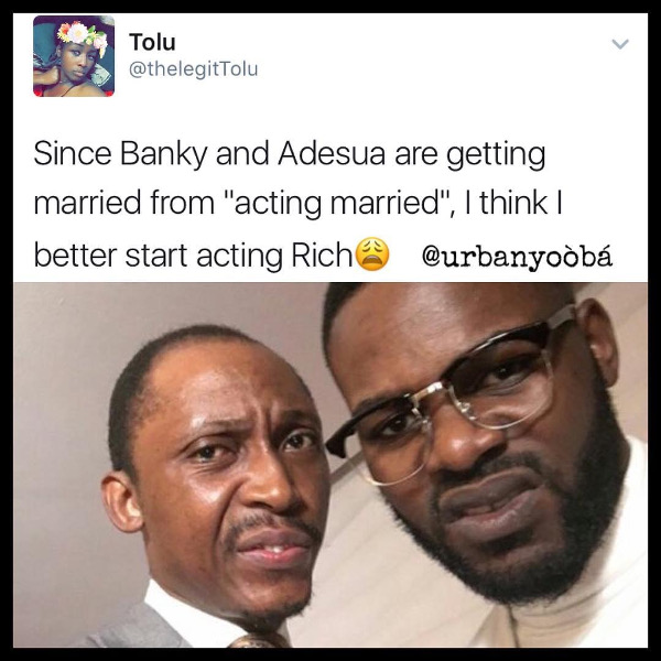 Adesua Etomi and Banky W Engagement Story Memes LoveWeddingsNG Acting Rich