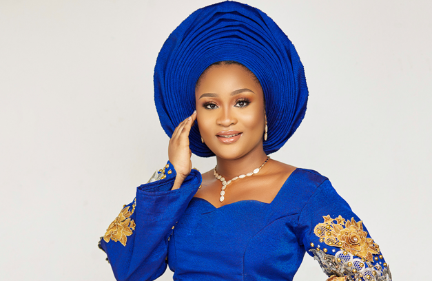 Blue Aso oke traditional bridal inspiration