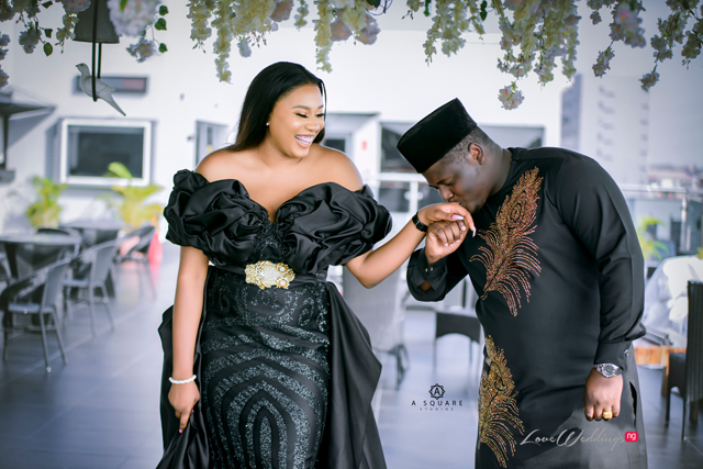 Lucy & Wilfred's all black everything prewedding shoot