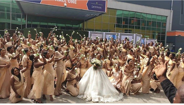 Sandra Ikeji and her 200 Bridesmaids LoveWeddingsNG