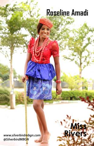 MBGN 2014 Miss Rivers - Roseline Amadi Nigerian Traditional Outfit Loveweddingsng