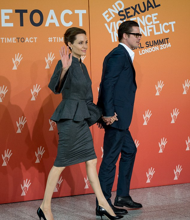 Angelina Jolie and Brad Pitt attend closing plenary session at ExCel