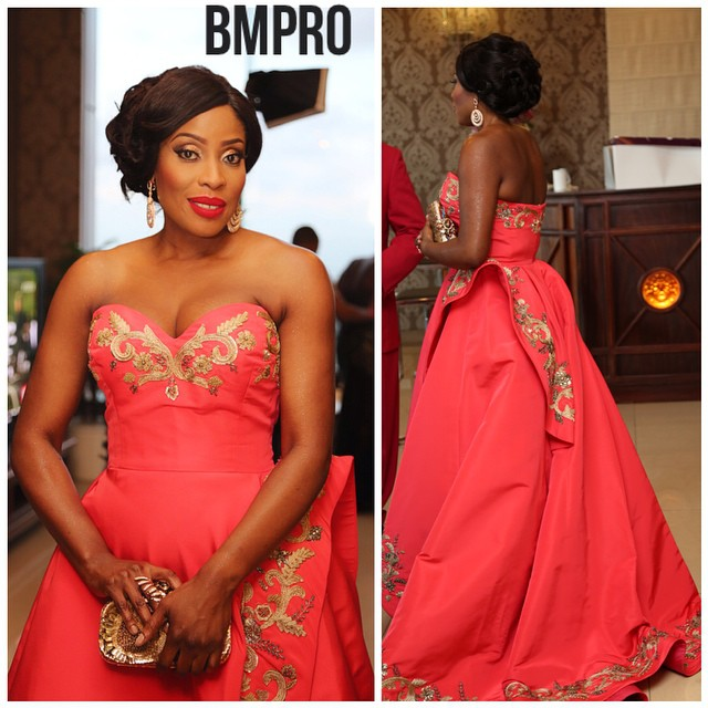 Mo Abudu - The Birthday Girl wore an Oscar de La Renta dress from the designers' Fall 2014 ready to wear collection. Makeup: Banke Meshida - Lawal of BMPro