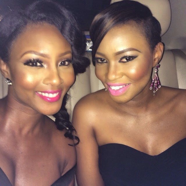 Genevieve Pink Ball 2014 - Osas Ighodaro with friend