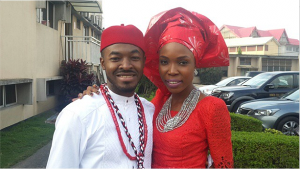 The groom - OC Ukeje with his 'Best Lady' - Lala Akindoju