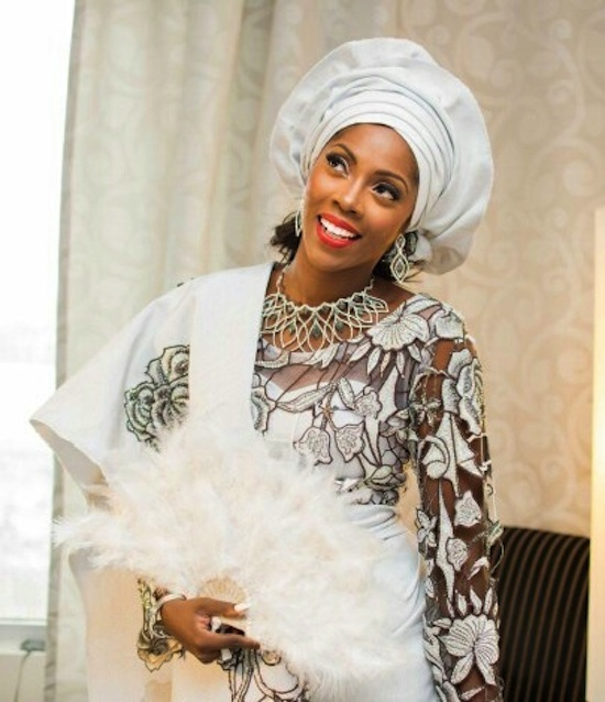 Tiwa Savage All White Traditional Wedding Outfit LoveweddingsNG