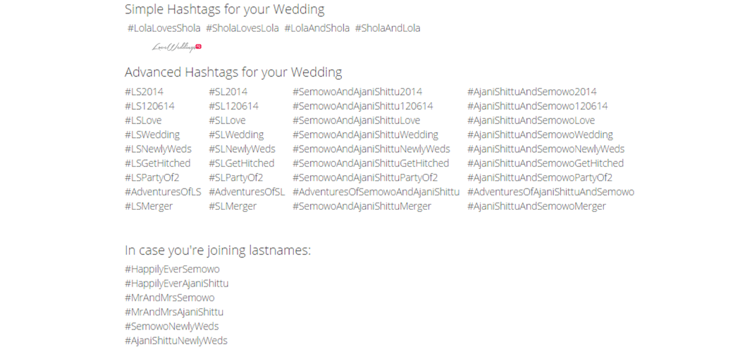 Wedding Hashtag Wall Loveweddingsng - #LolaShola2014