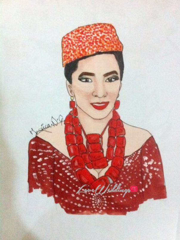 Nigerian Bridal Sketch - Ibinabo Fiberesima Jessica LoveweddingsNG
