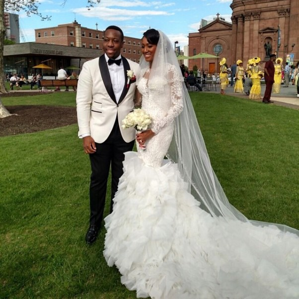 Osi Umenyiora's Sister Weds - Bride and groom