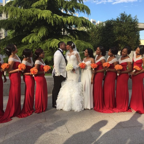 Osi Umenyiora's Sister Weds - Couple and bridal train