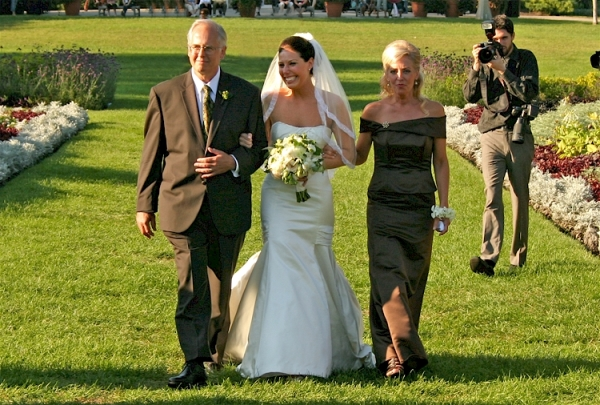 LoveweddingsnG Parents Walking Bride down the aisle