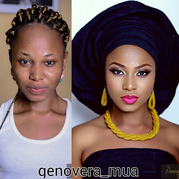 LoveweddingsNG Before and After - Genovera MUA