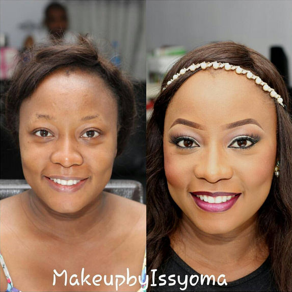 LoveweddingsNG Before and After - Makeup by Issyoma