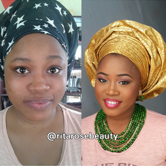 LoveweddingsNG Before and After - Rita Rose Beauty