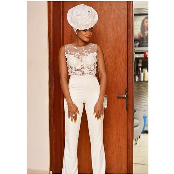 Nigerian Bridal Jumpsuit LoveWeddingsNG Toju Foyeh