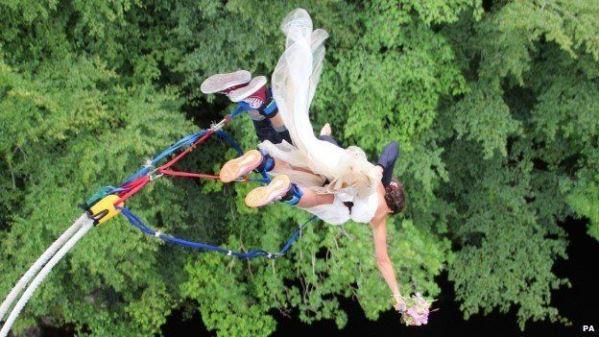 Bungee jump couple LoveweddingsNG1