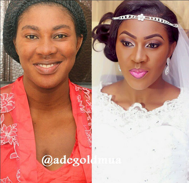 LoveweddingsNG Before and After Adegold MUA